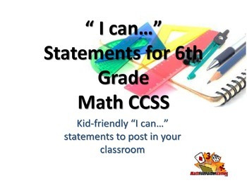 "6th Grade MATH CCSS ""I Can"" Statements {Editable PowerPoint Included}"