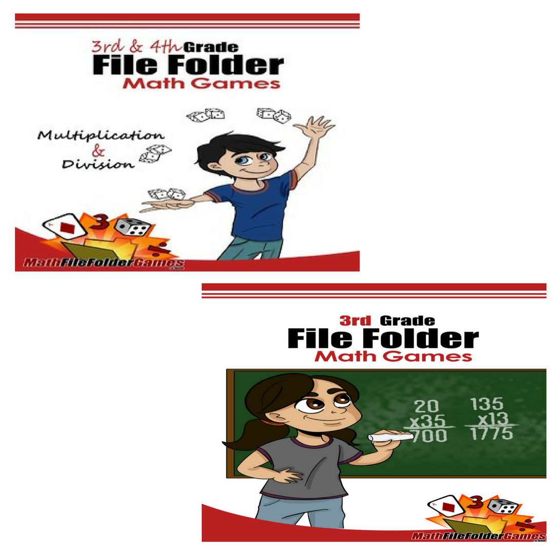 3rd Grade Book & 3rd & 4th Grade Book (File Folder Math Games) - Bundle