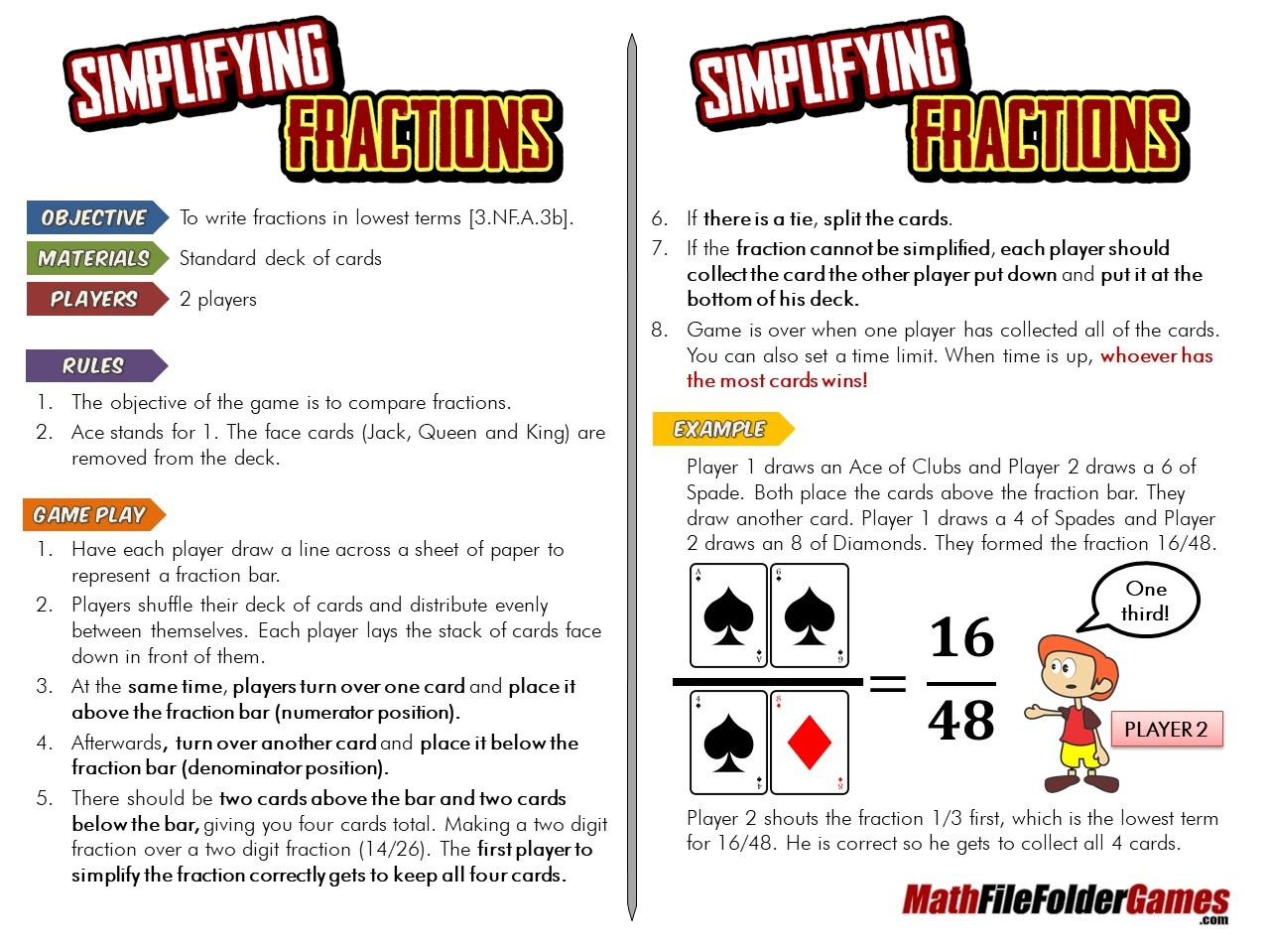 [3.NF.A.3b] Simplifying Fraction Card Game