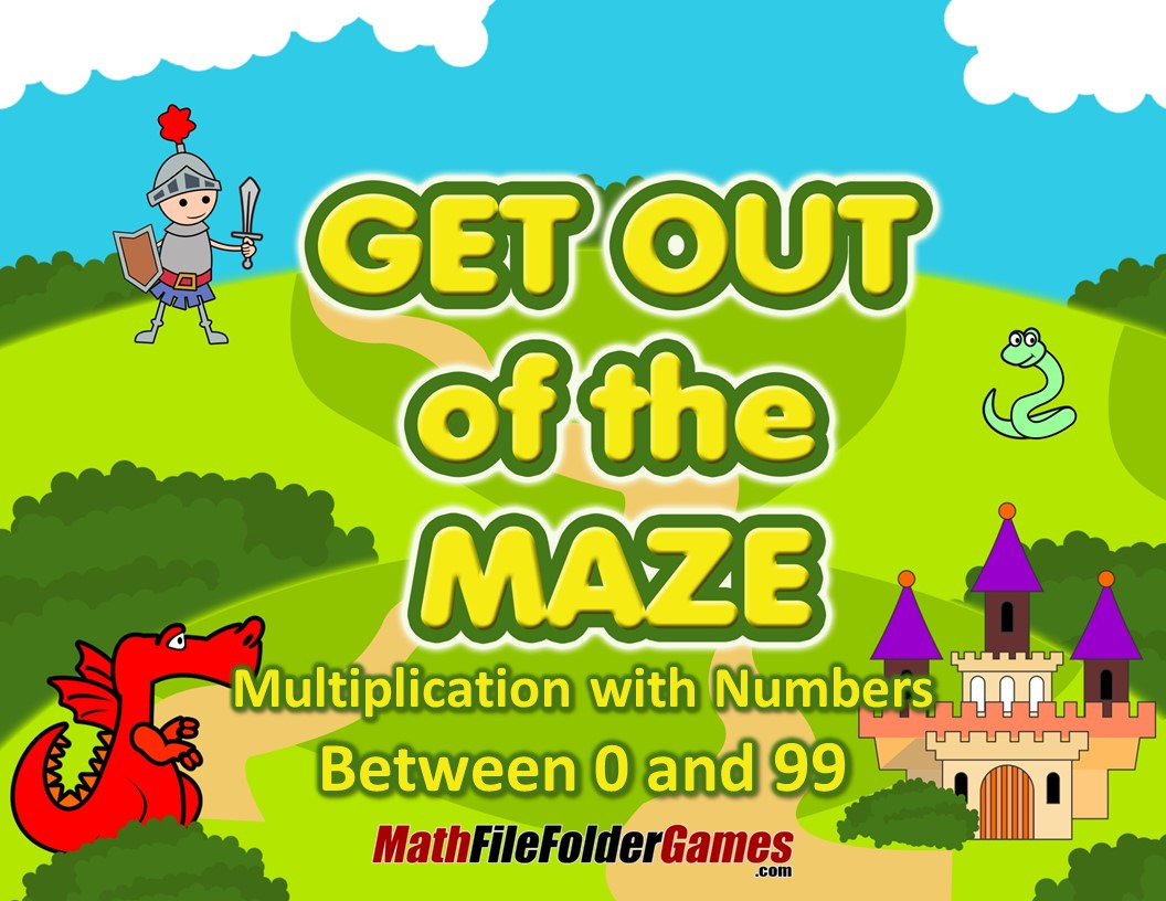 Multiplication with numbers between 0 and 12 (Fun Worksheets / Mazes)