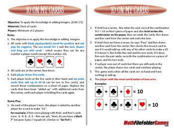 10 On MY Cards (Go Fish Adding Integer Game)