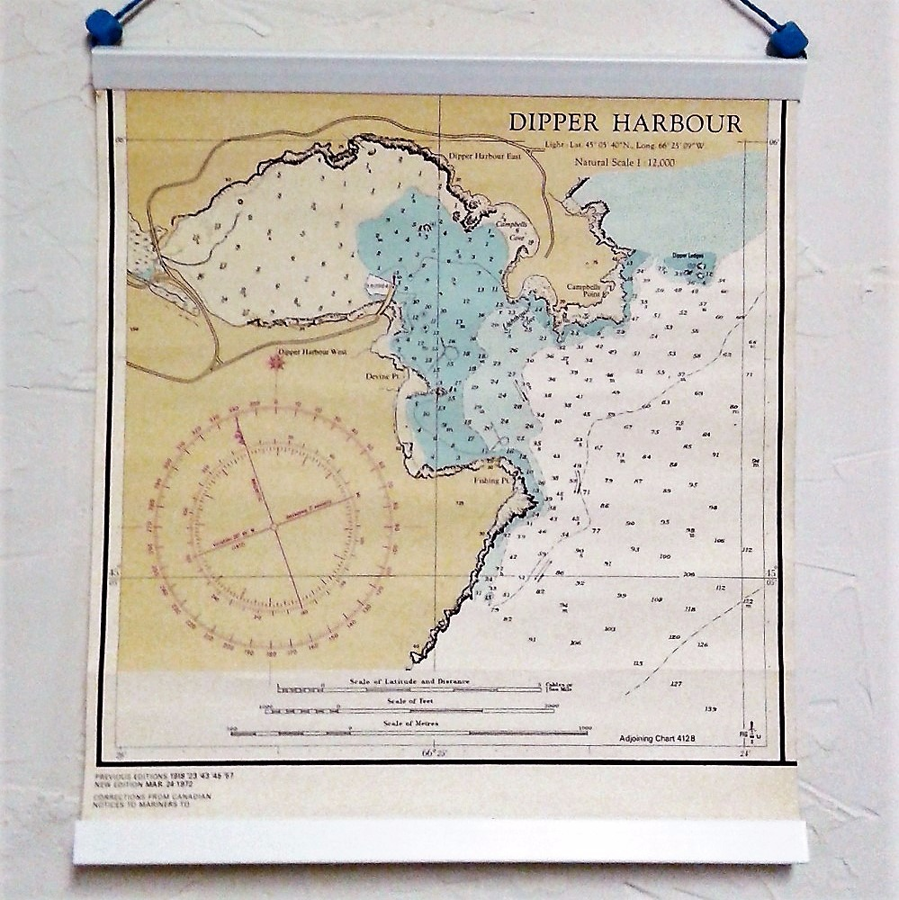 Dipper Harbour, Bay of Fundy, Vintage Nautical Chart 1972