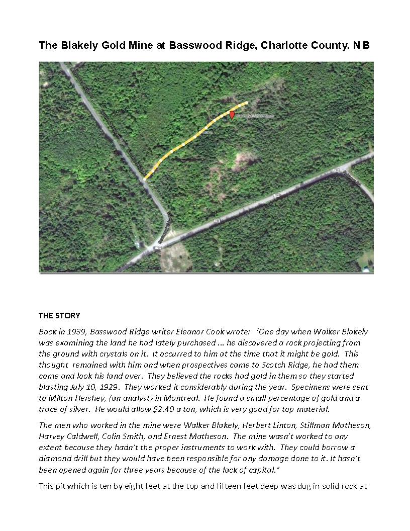 EXPLORE NB: The Blakely Gold Mine at Basswood Ridge, N B - Resource Files