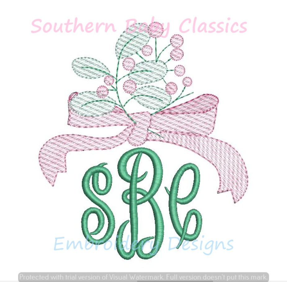 Bow Berry Sketchy Fill Embroidery Design Monogram Topper Spring Valentine's Day
