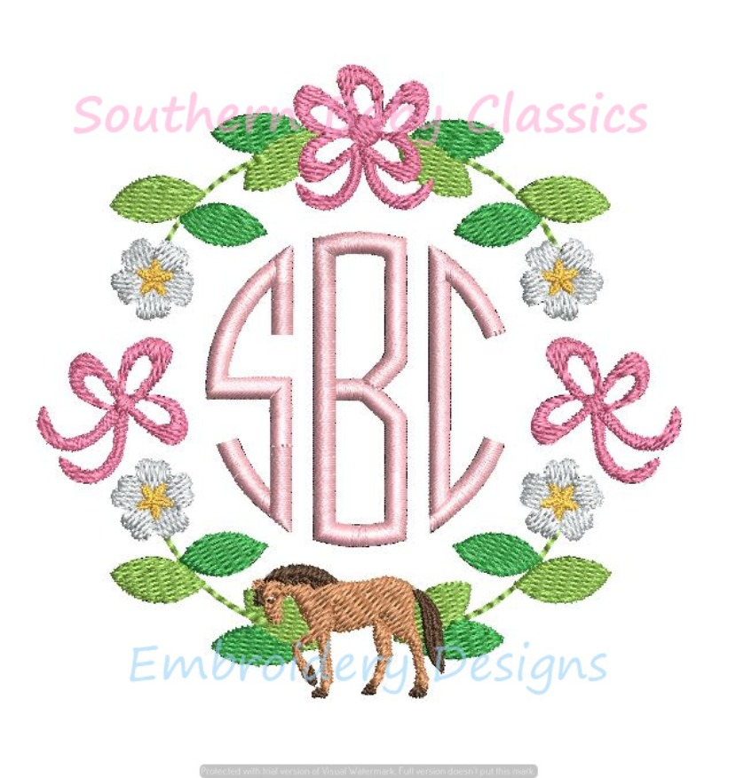 Horse Flower Bow Floral Monogram Circle Frame Floral Machine Embroidery Design