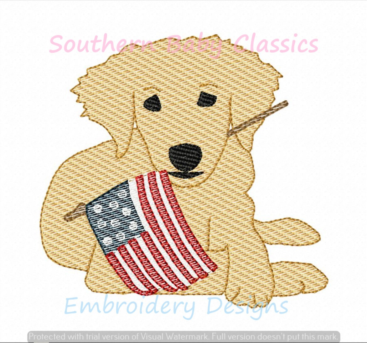 Golden Retriever Dog with American Flag Sketchy Fill Machine Embroidery Design 4th Fourth of July