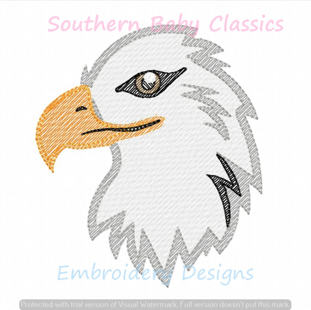 Eagle Head Mascot Patriotic Light Sketchy Fill Machine Embroidery Design Fourth of July Boy