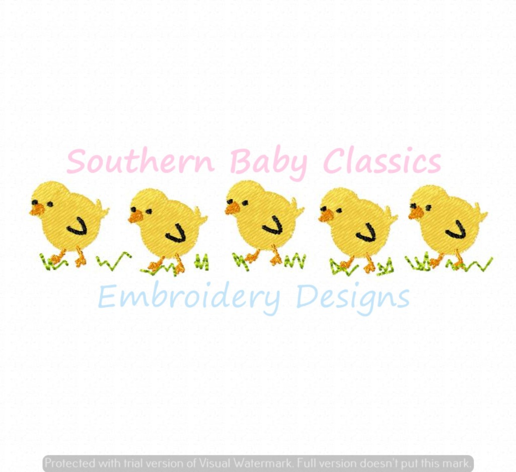 Chicks in a Row Machine Embroidery Design Baby Shower Easter Spring Chickens