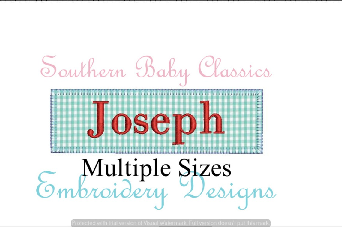Name Plate Zig Zag Applique Multiple Sizes Machine Embroidery Design