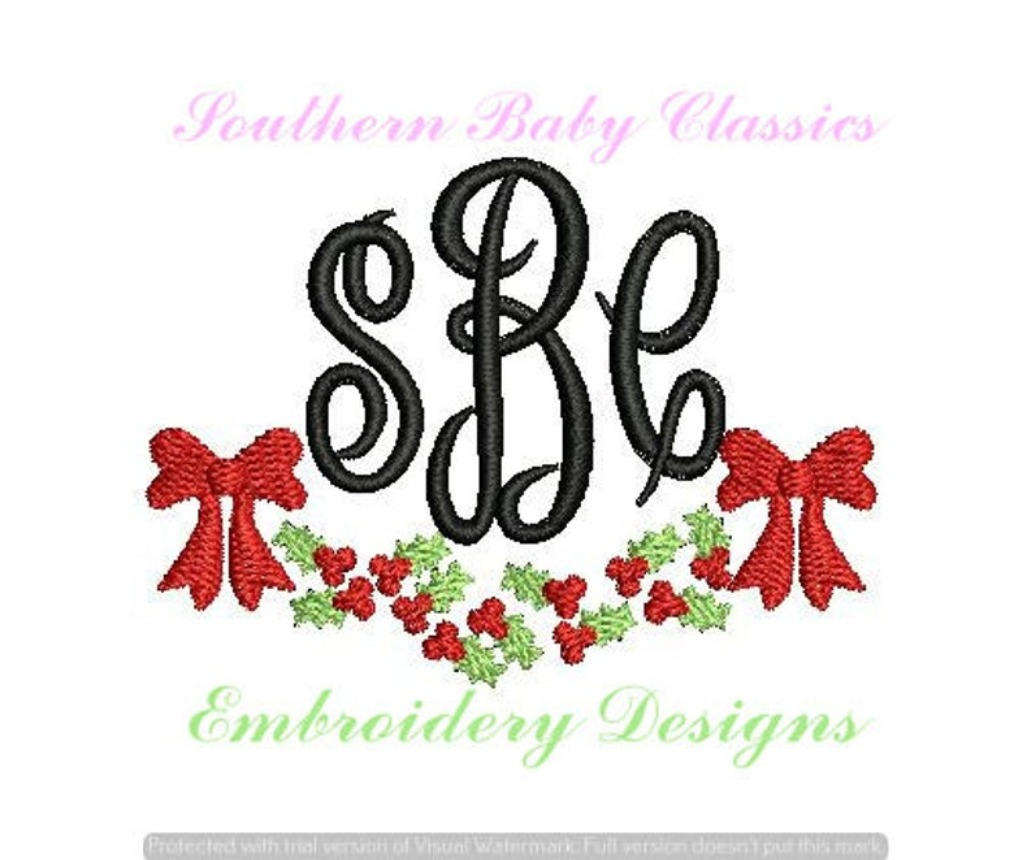 Holly Swag Fill Machine Embroidery Christmas