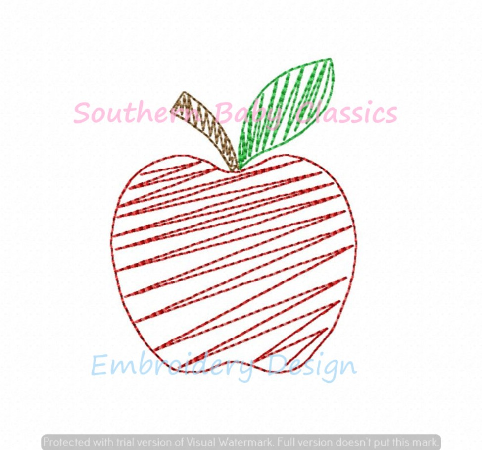 Apple Quick Stitch Back to School Machine Embroidery Design Fall Apples Girl Boy