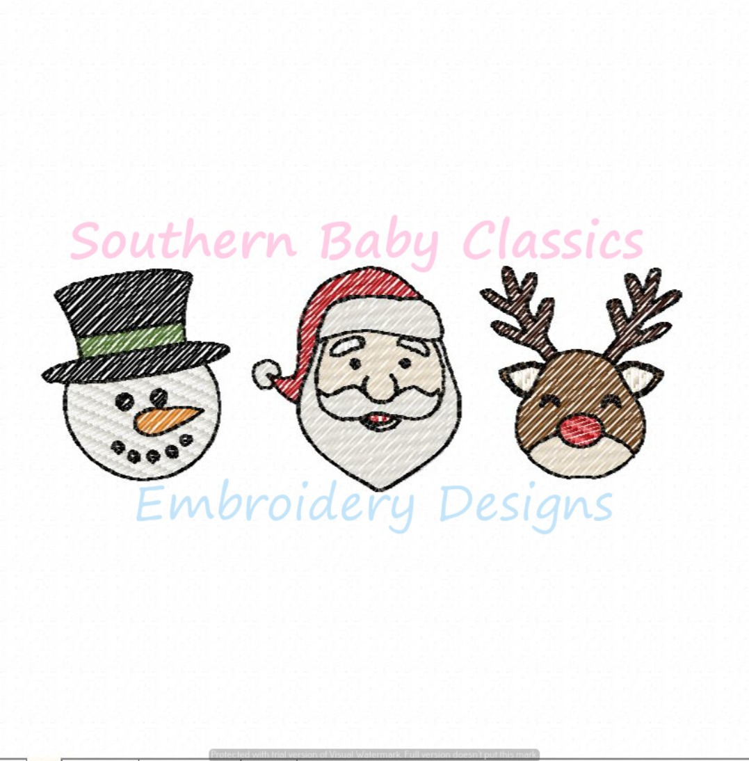 Christmas Characters Trio Santa Reindeer Snowman Rudolph Frosty Light Fill Machine Embroidery Design