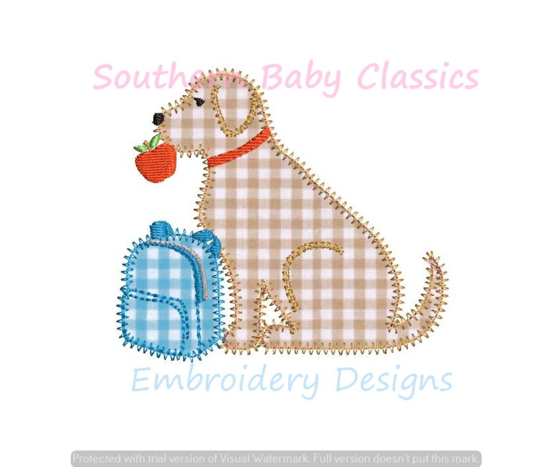 Back to School Dog Boy Apple Applique Machine Embroidery Instant Download