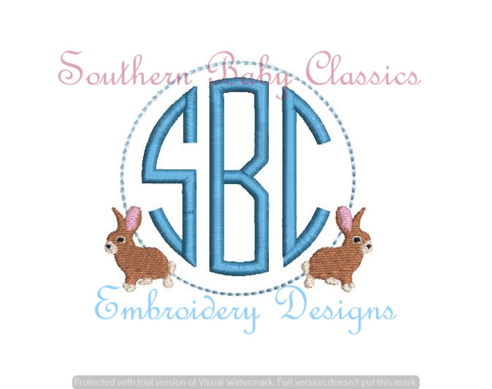 Bunny Fill Monogram Frame Machine Embroidery
