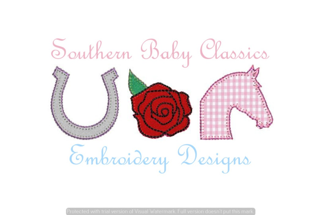 Derby Trio Row Horse Shoe Rose Race Horses Racing Blanket Stitch Applique Machine Embroidery Design