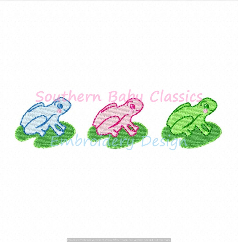 Preppy Frog Trio Machine Embroidery Design Toad Frogs Lilly Pad Summer Boy Girl