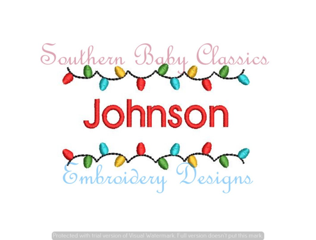 Christmas Light Name Frame Fill Machine Embroidery