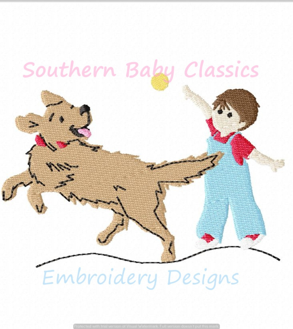 Boy and Dog Playing Fetch Ball Full Fill Machine Embroidery Design Summer Baby Cute