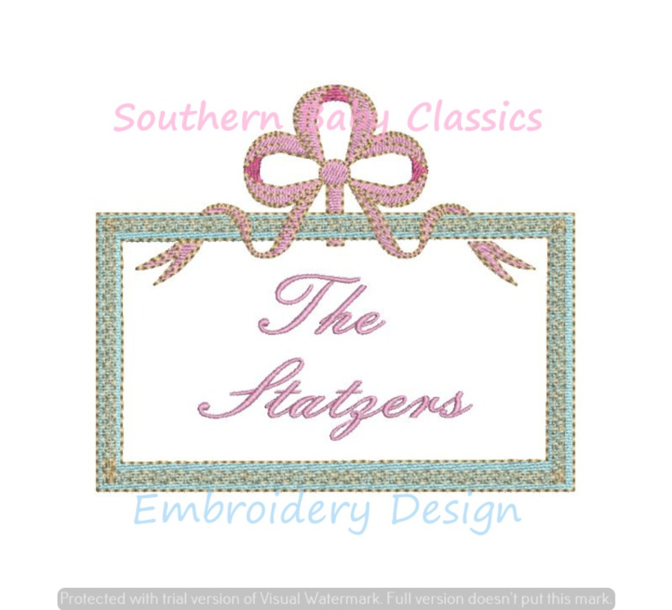 Vintage Inspired Rectangle Frame With Bow Ribbon Hanger Machine Embroidery Design Monogram Name