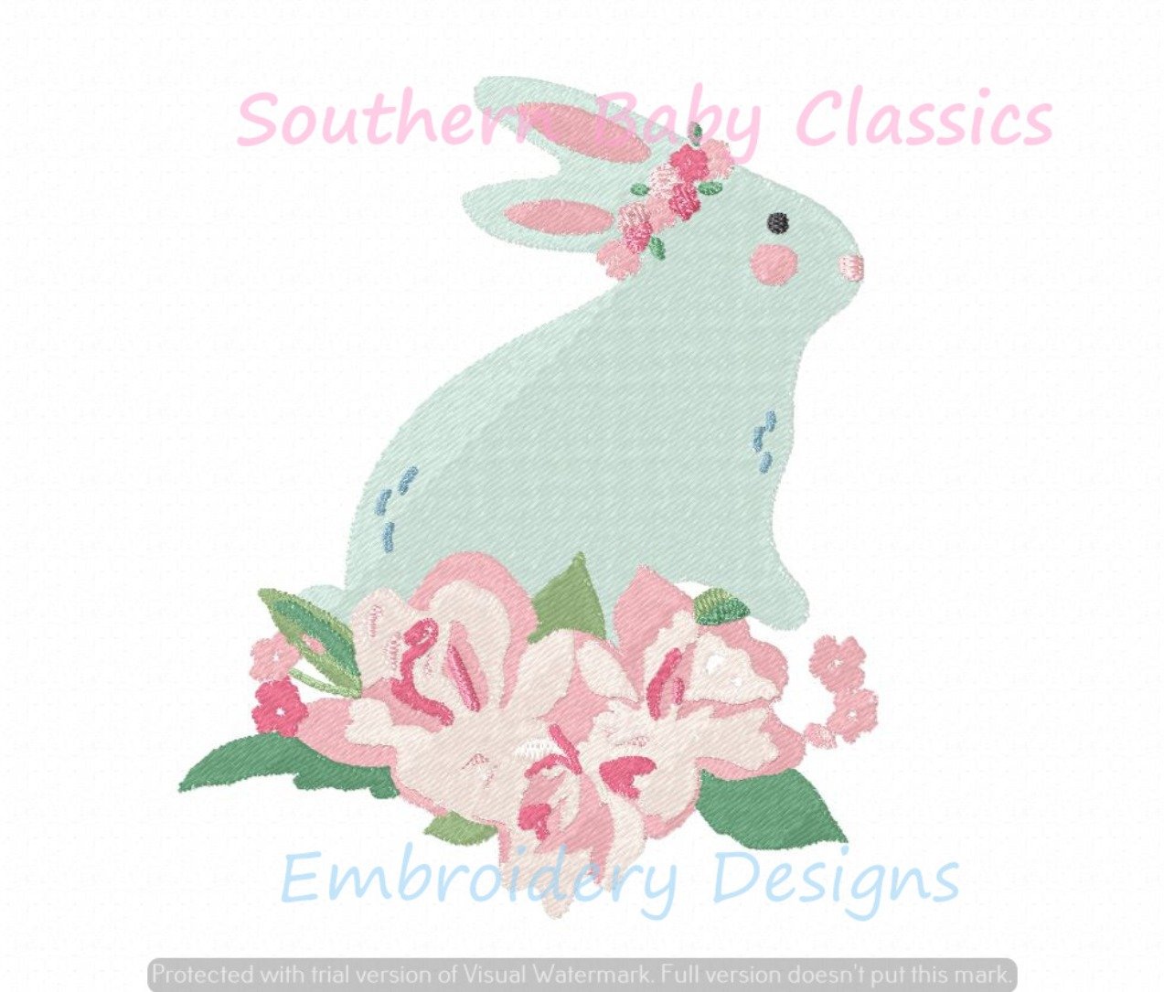 Easter Bunny Floral Flower Crown Swag Machine Embroidery Design Full Fill Baby Girl