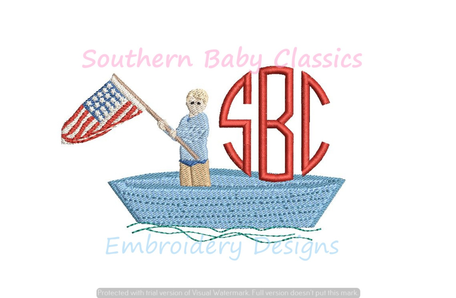 Boy in Boat with American Flag Fill Machine Embroidery Design Patriotic Summer
