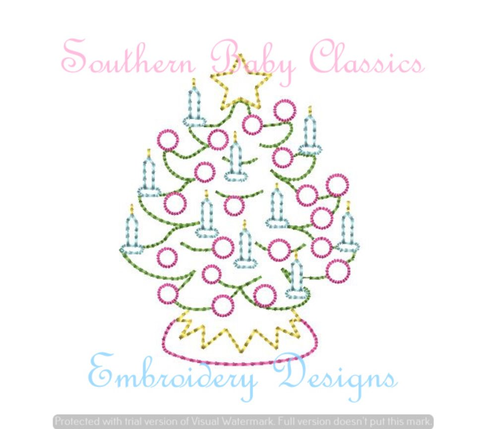 Christmas Tree With Candles Vintage Stitch