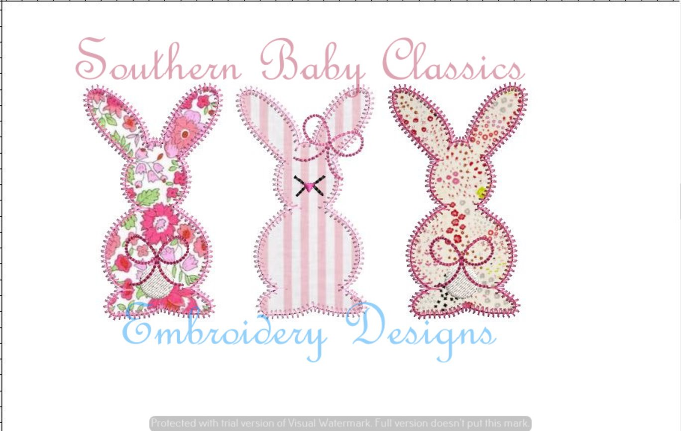 Bunny Girls Blanket Stitch Applique Machine Embroidery Spring/Easter