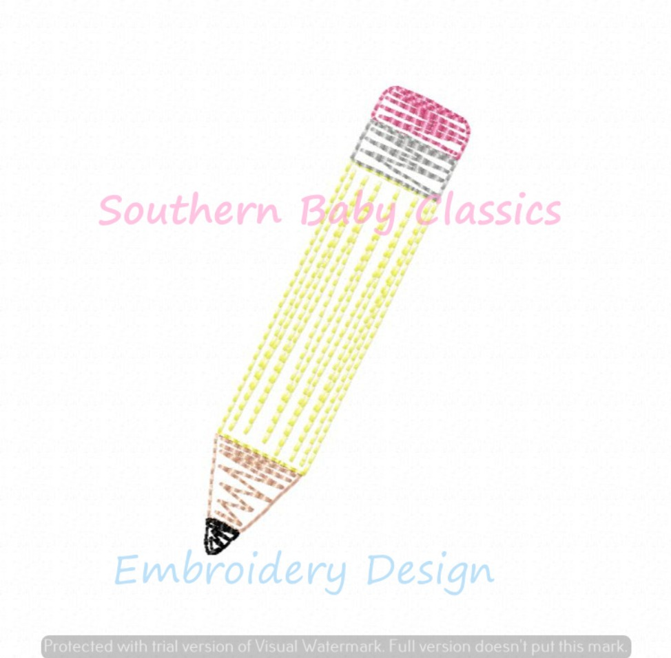 Pencil Back to School Quick Stitch Machine Embroidery Design Girl Boy Art First Day