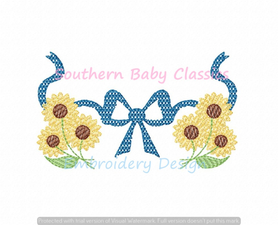 Chic Filled Sunflower Monogram Bow Ribbon Swag Machine Embroidery Design Fall Flower Girl