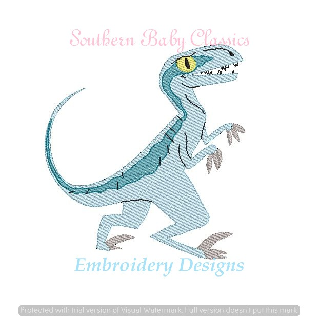Blue Dinosaur Character Light Sketchy Fill Jurassic Machine Embroidery Design
