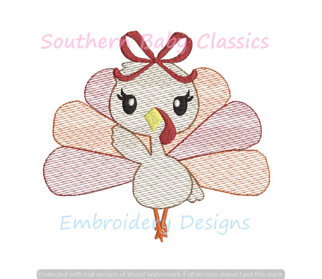 Turkey Girl Bow Thanksgiving Sketchy Fill Football Mascot Machine Embroidery Design