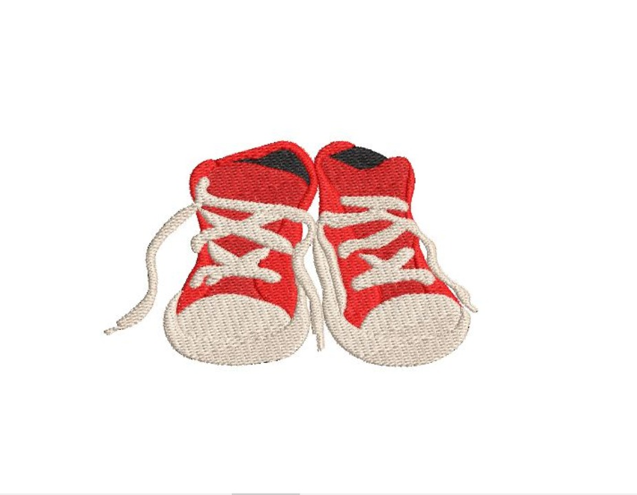 Baby Sneakers Tennis Shoes Mini Fill Design Machine Embroidery