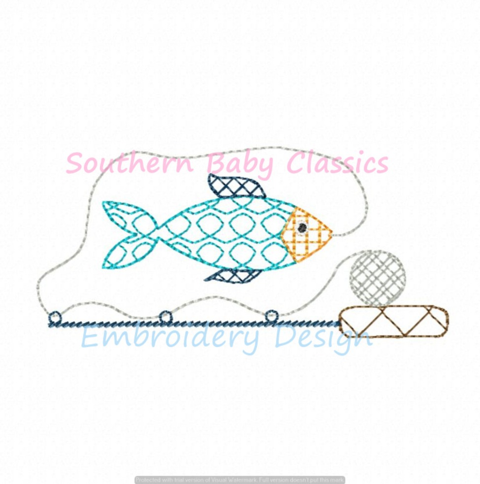 Artistic Chic Fill Fish and Fishing Pole Machine Embroidery Design Quick Stitch Vintage Summer