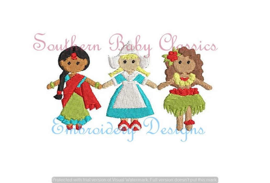 Tiny World Characters Girls Full Fill Machine Embroidery Design