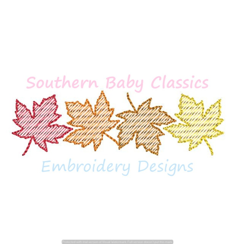 Leaves Row Quick Stitch Fill Machine Embroidery Design Leaf Autumn Fall Thanksgiving