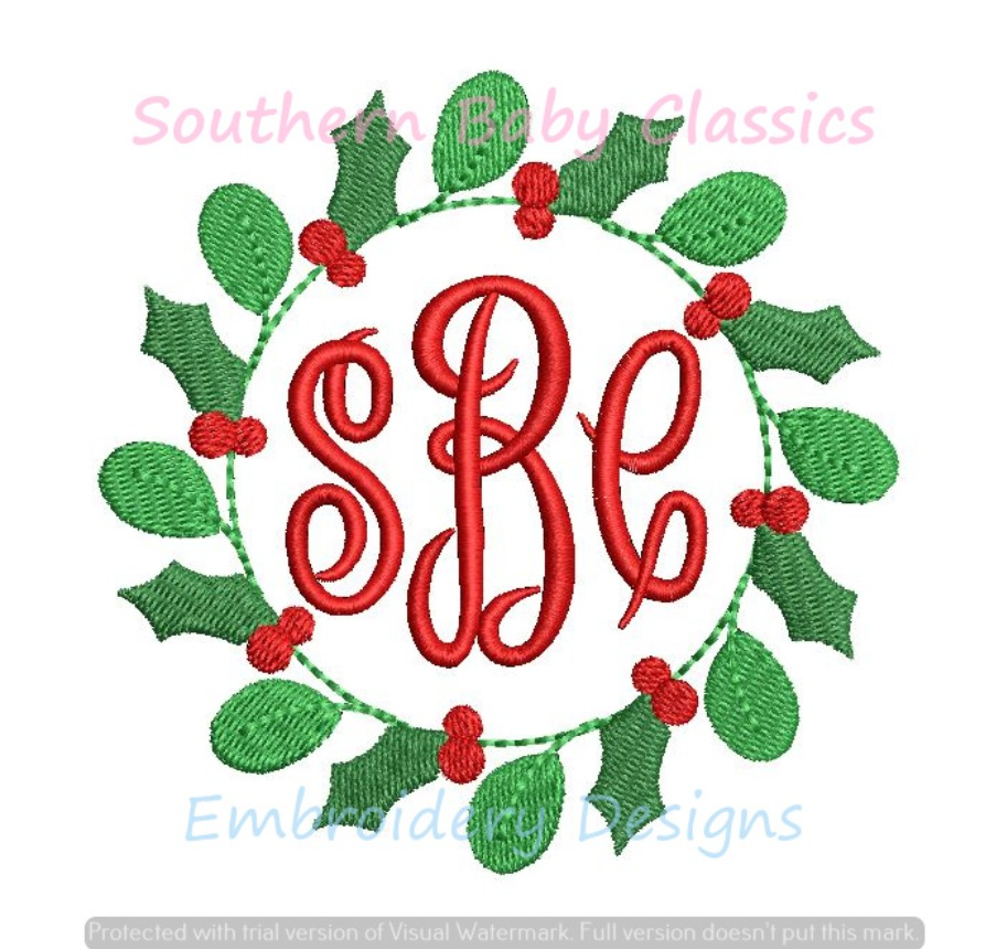Holly Berry Christmas Wreath Monogram Circle Frame Machine Embroidery
