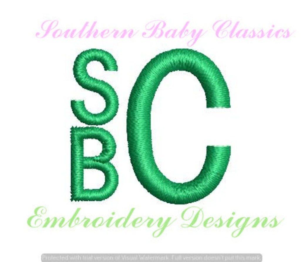 """Stacked Monogram Block Font 1.5"""" Total Height Machine Embroidery Design"""