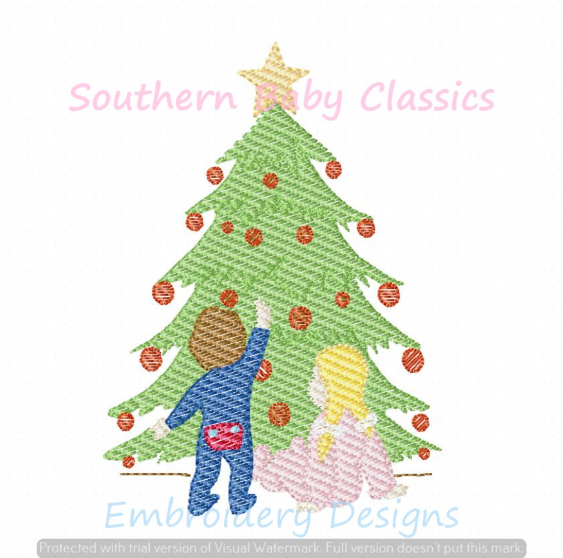Christmas Tree Brother Sister Boy Girl Light Sketchy Fill Machine Embroidery Design