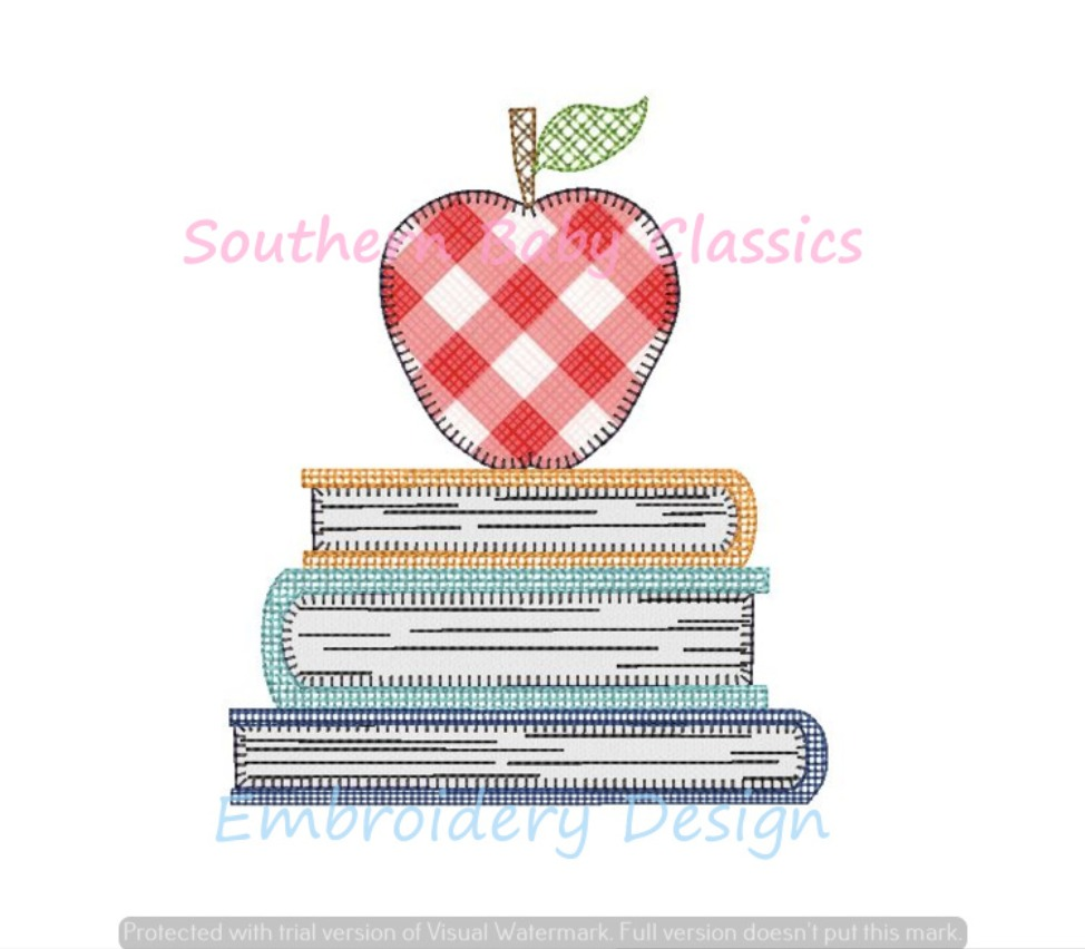 Apple Stacked Books Back to School Blanket Stitch Applique Artsy Fill Machine Embroidery Design