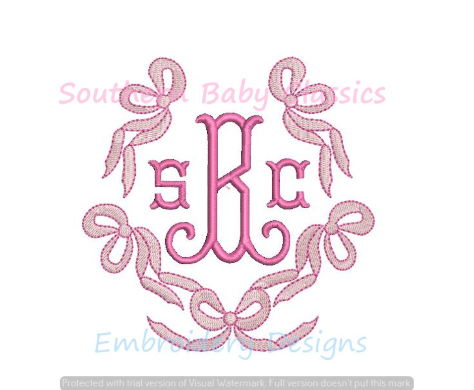 Ribbons and Bows Monogram Frame Machine Embroidery Design Fill Baby Ribbon Girl