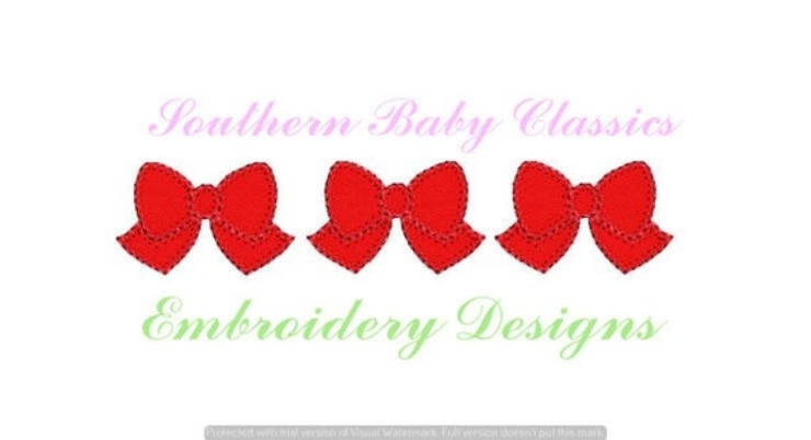 Bows in a Row Blanket Stitch Applique Machine Embroidery