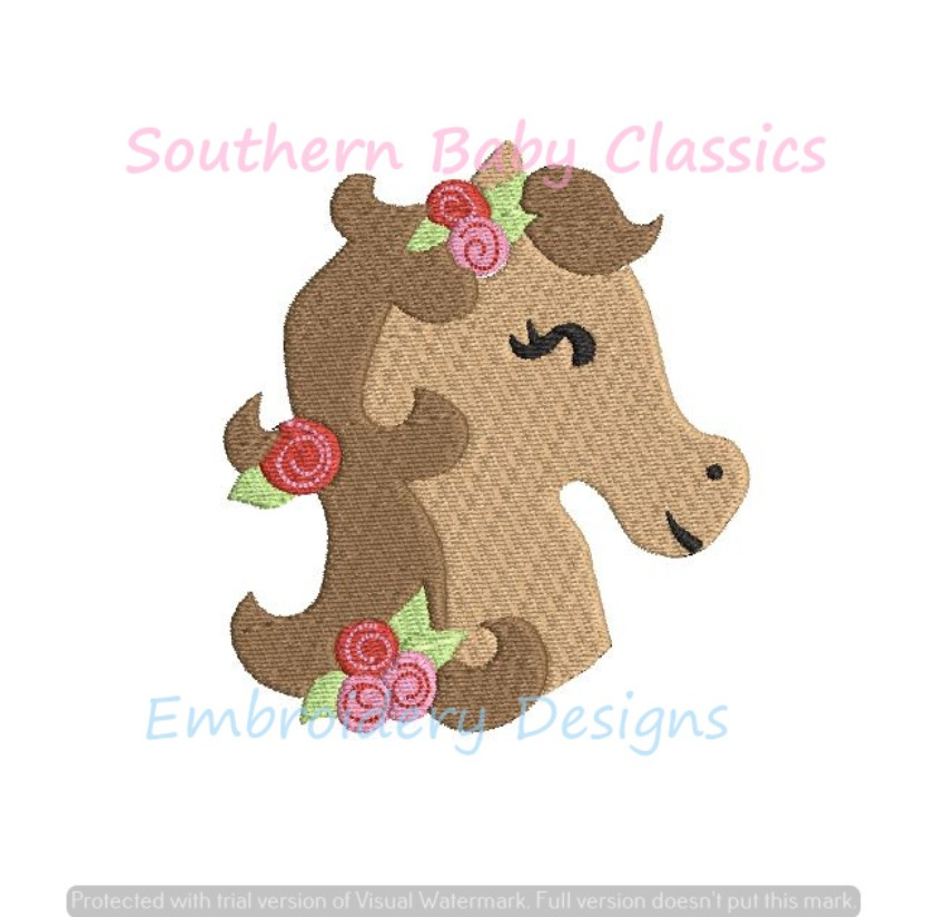 Horse Head Mini Fill Machine Embroidery Design Floral Roses Flowers Derby Horses