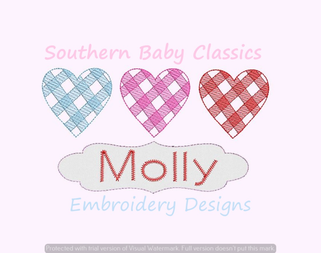 Gingham Hearts Trio Light Sketchy Fill Applique Name Plate Valentine's Day Heart