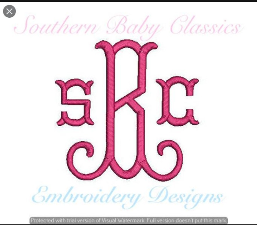 Fishtail Curl Arabesque Monogram 4.5 and 3.5 inches Machine Embroidery