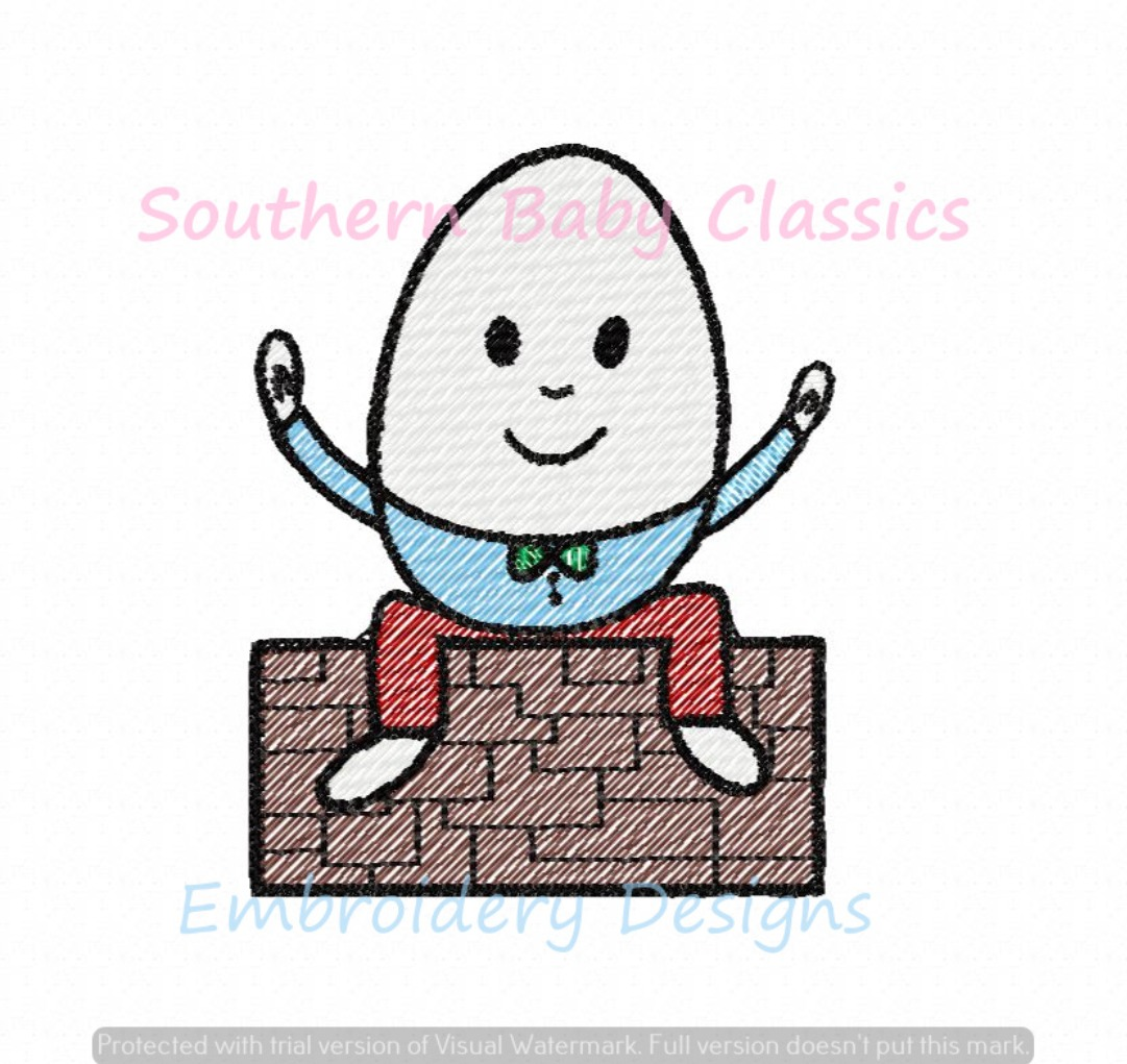 Humpty Dumpty Light Sketchy Fill Machine Embroidery Design Nursery Rhyme Baby Shower