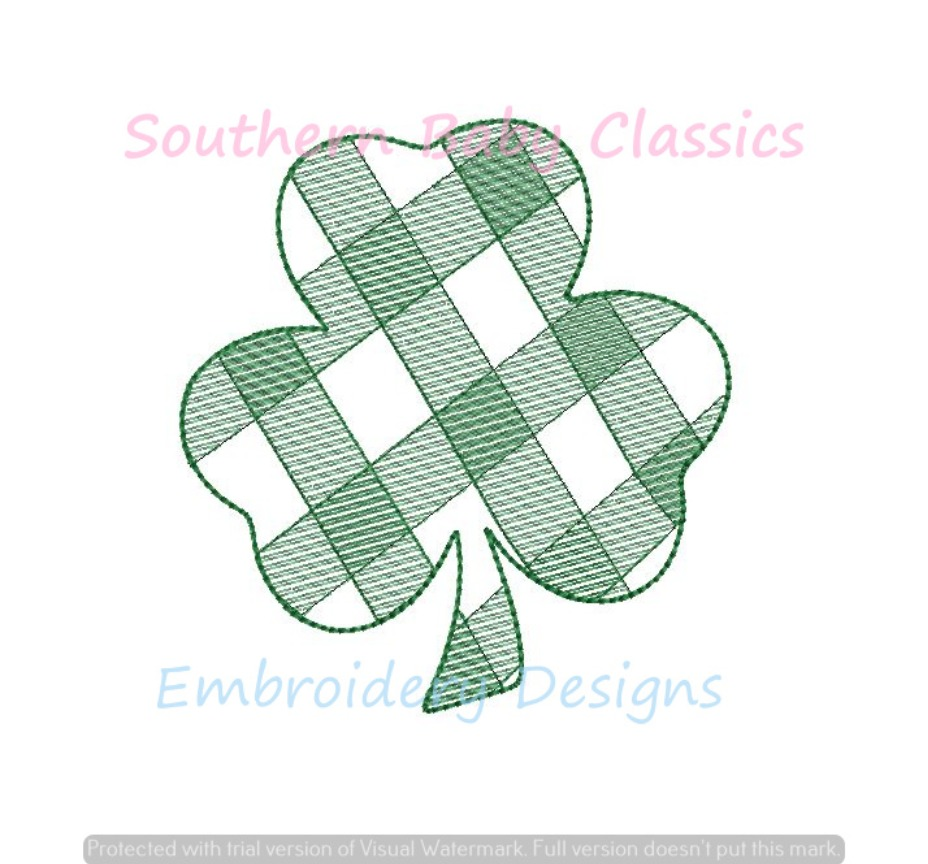 Gingham Plaid Clover Shamrock St. Patrick's Day Sketchy Light Fill Machine Embroidery Design Four