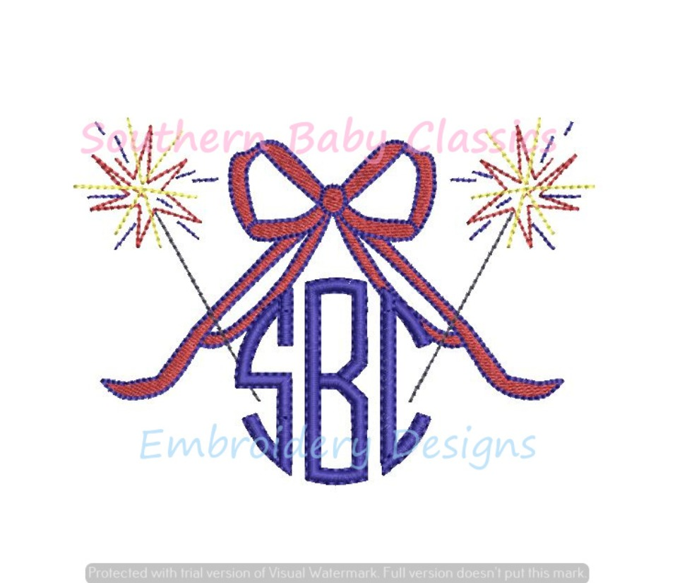 Sparkler Bow Monogram Topper Firework Fourth 4th of July Machine Embroidery Design
