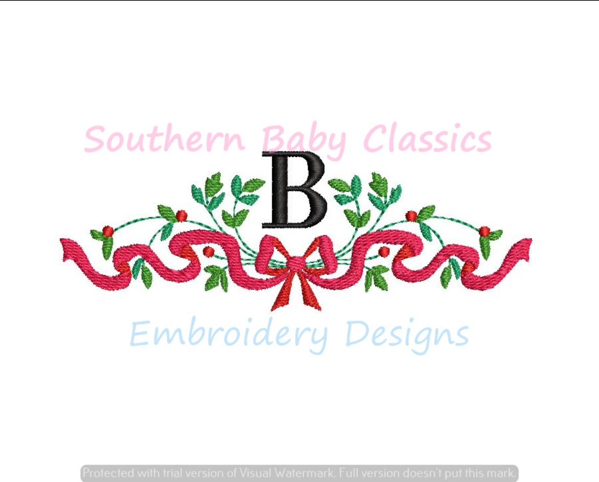 Ribbon Greenery Bow Berry Monogram Swag Machine Embroidery Frame Christmas Baby Floral