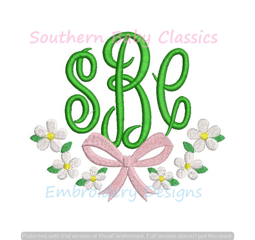 Daisy Ribbon Bow Monogram Frame Swag Machine Embroidery Design Spring Baby Girl