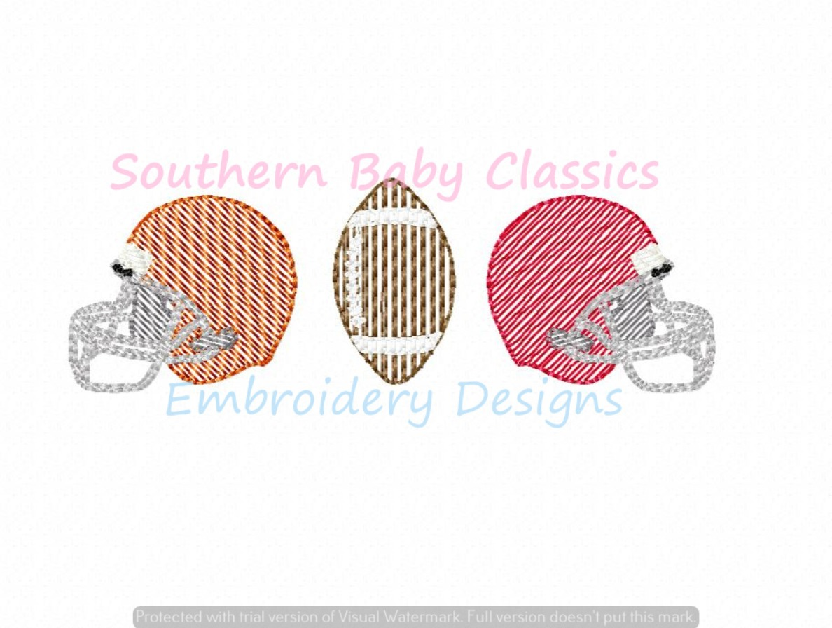 Two Helmets Football House Divided Rivals College Light Sketchy Machine Embroidery Design Boy Girl